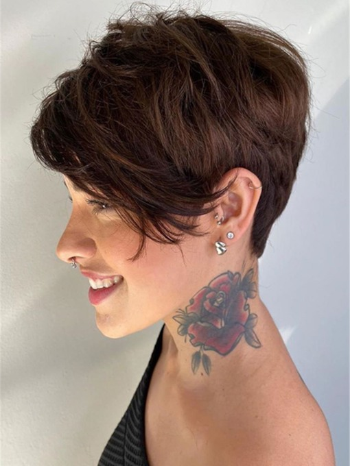 Short Pixie Boy Cut Hairstyles Women's Straight Human Hair Lace Front Wigs 6 Inch Short 130% Wigs