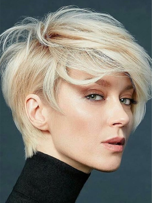 Short Hairstyle Natual Straight Human Hair With Feminine Layers Women 12 Inches 130% Wigs
