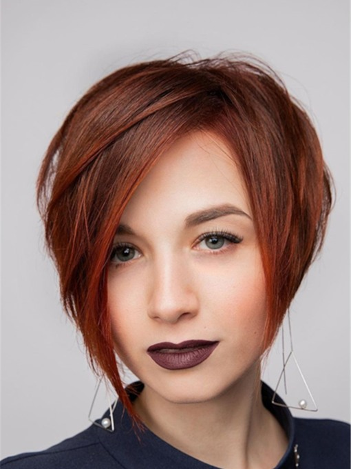 Women's Chic Short HairStyles Pixie Straight Human Hair 130% 10 Inches Wigs