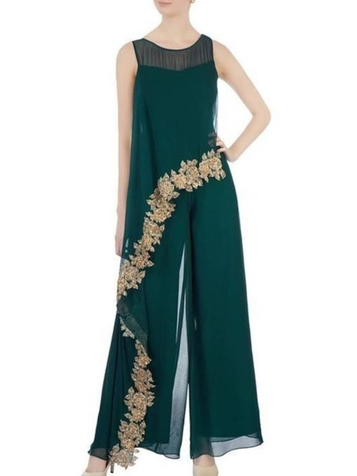 Chiffon A-Line Scoop Ankle-Length Appliques Mother of the Bride Dress 2021