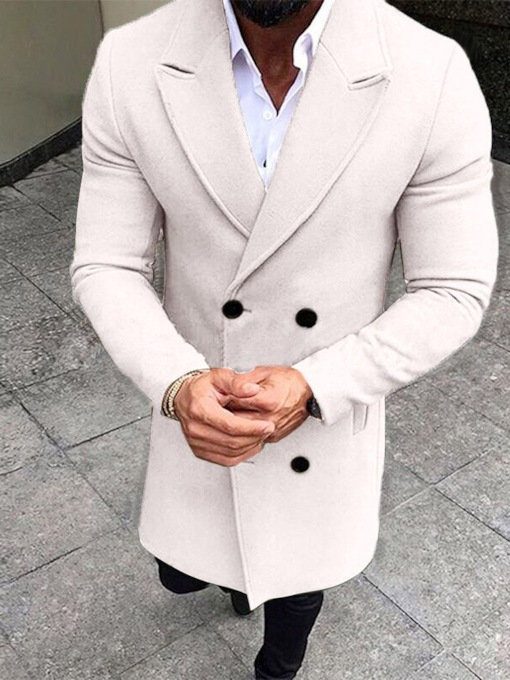 Plain Button Double-Breasted Mid-Length Winter Men's Coat