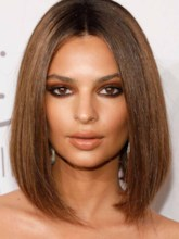 Women's Medium Straight Emrata's Chocolate-Spiked Lob With a Center Part Style Human Hair Capless 130% 14 Inches Wigs