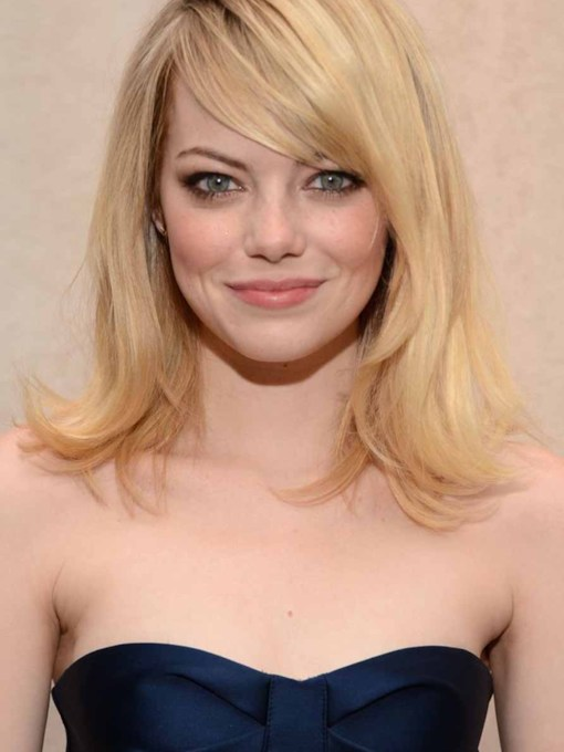 Women's Natural Straight Emma Stone's Flipped-Out Ends Blonde Color Human Hair Capless 130% 16 Inches Wigs