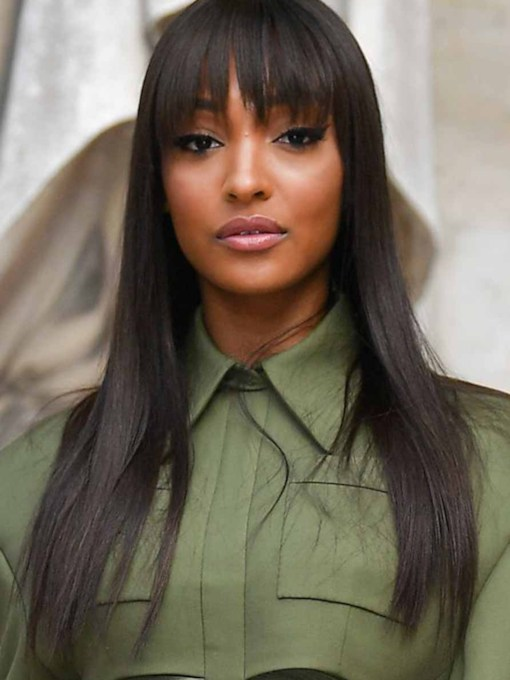 Jourdan Dunn's Hairstyle Women's Natural Straight Human Hair Capless Wigs With Fringe Bangs 26 Inches 130% Wigs