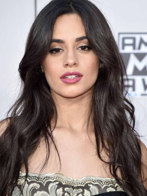 Camila Cabello's Face-Framing Layers Style Women's Wavy Human Hair Capless 26 Inches 130% Wigs