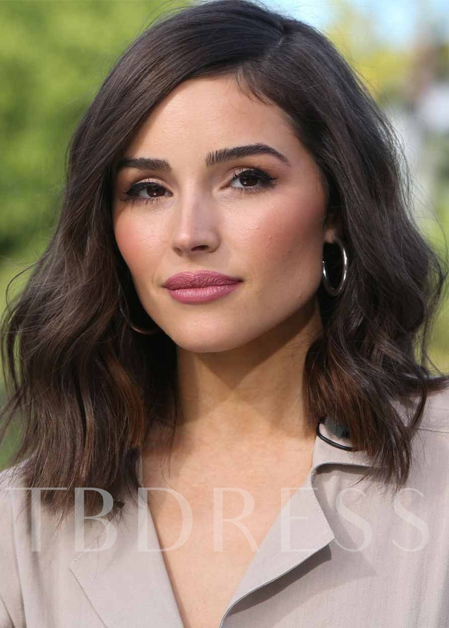 Olivia Culpo's Hairstyle Women's Layered Shoulder-Length Lob Wavy Human Hair Capless 130% 20 Inches Wigs