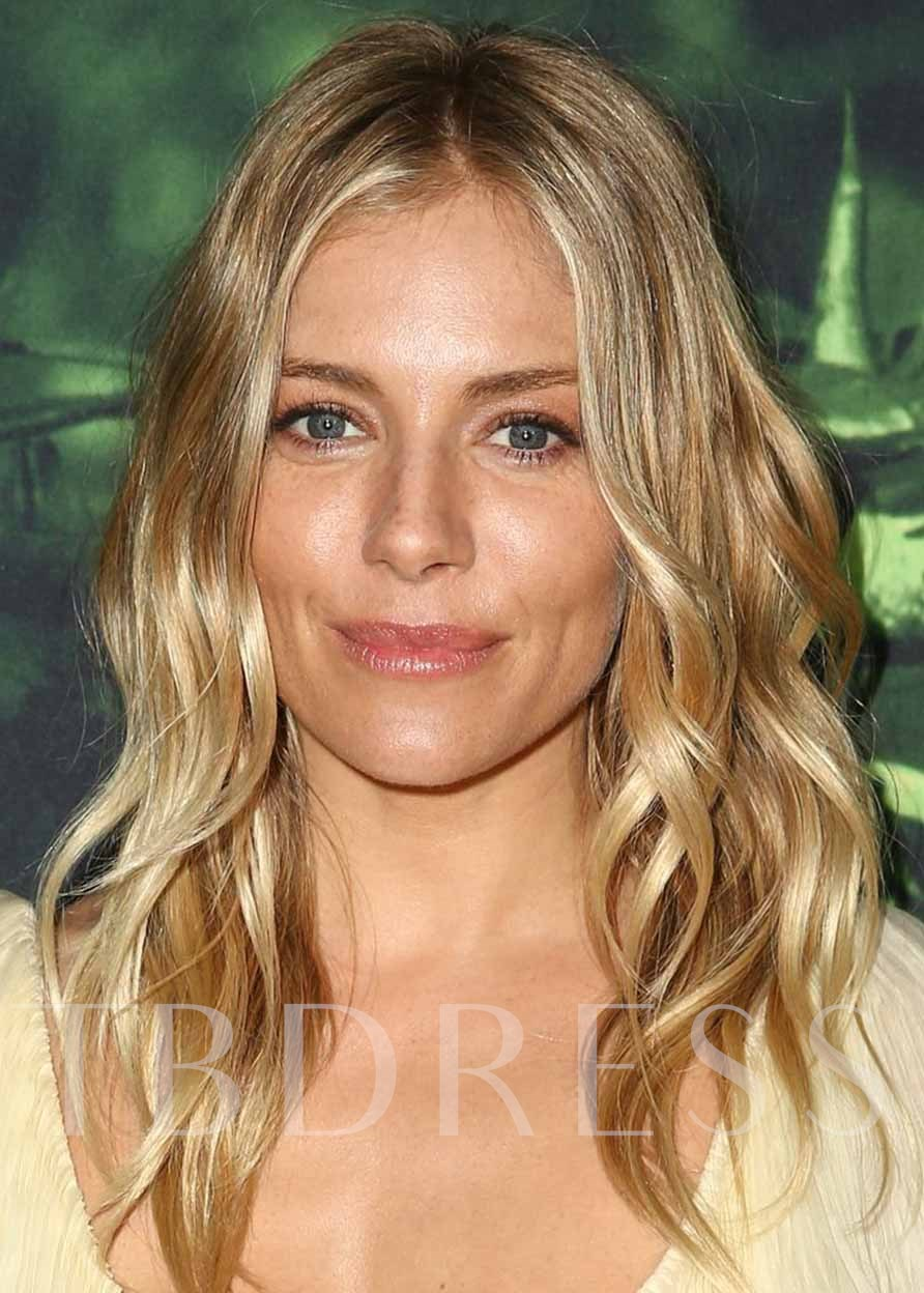 Sienna Miller's Hairstyle Women's Beachy Waves Wavy Human Hair Capless 24 Inches 130% Wigs