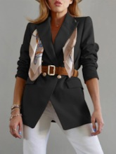 Long Sleeve Notched Lapel Plain Double-Breasted Mid-Length Women's Casual Blazer