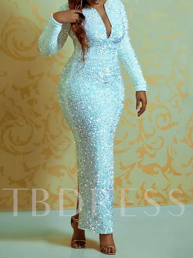 Ankle-Length Long Sleeves Sequins Sheath Evening Dress 2021