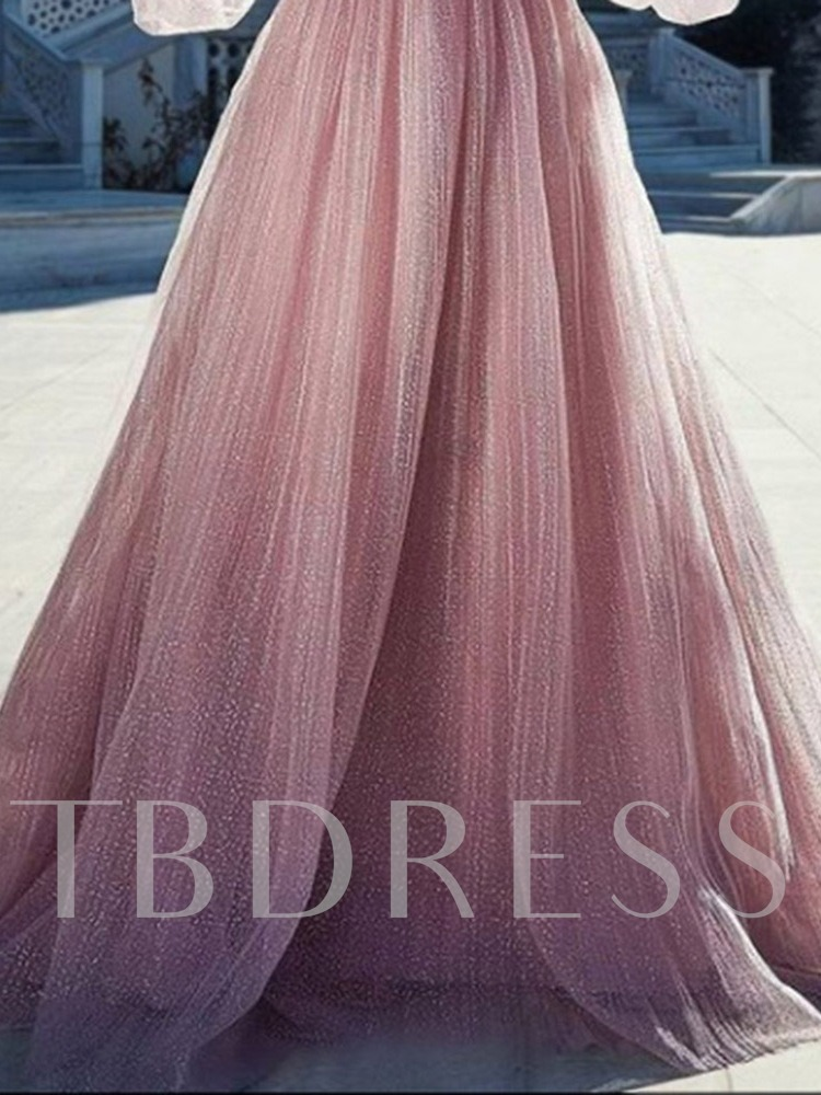 Strapless Long Sleeves A-Line Floor-Length Prom Evening Dress 2021