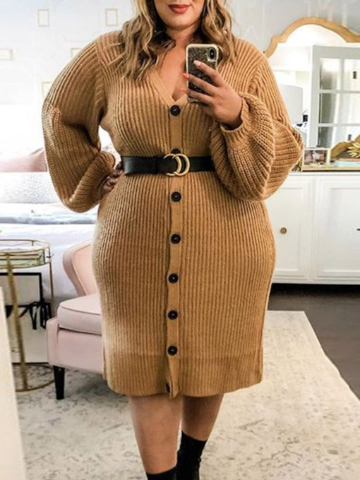 Plus Size Mid-Calf Long Sleeve Button V-Neck Single-Breasted Women's Dress