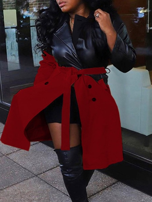 Double-Breasted Long Patchwork Fashion Women's Trench Coat