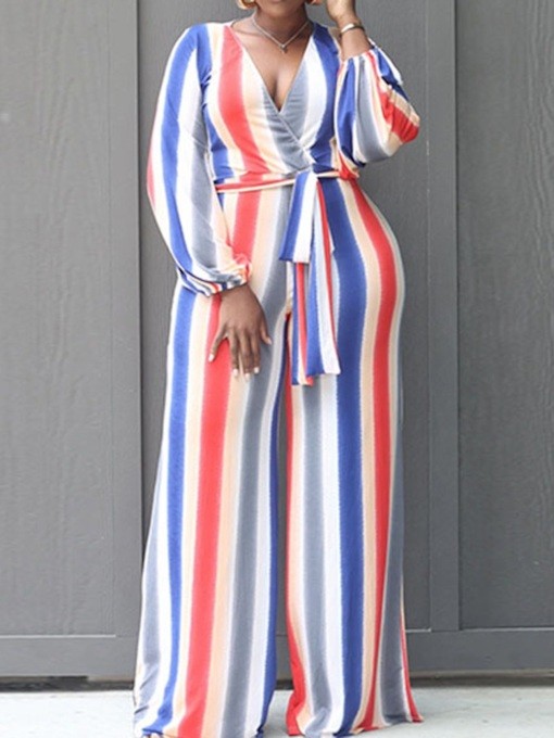 Fashion Stripe Full Length Lace-Up Straight Women's Jumpsuit