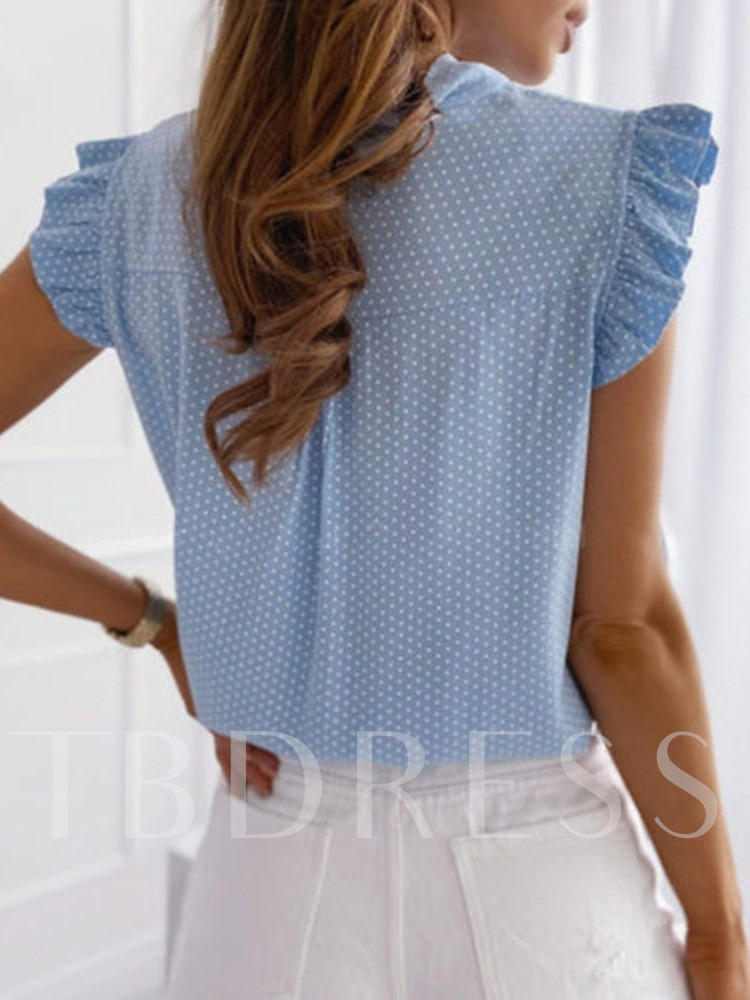 Polka Dots Lace-Up Cap Sleeve Women's Blouse
