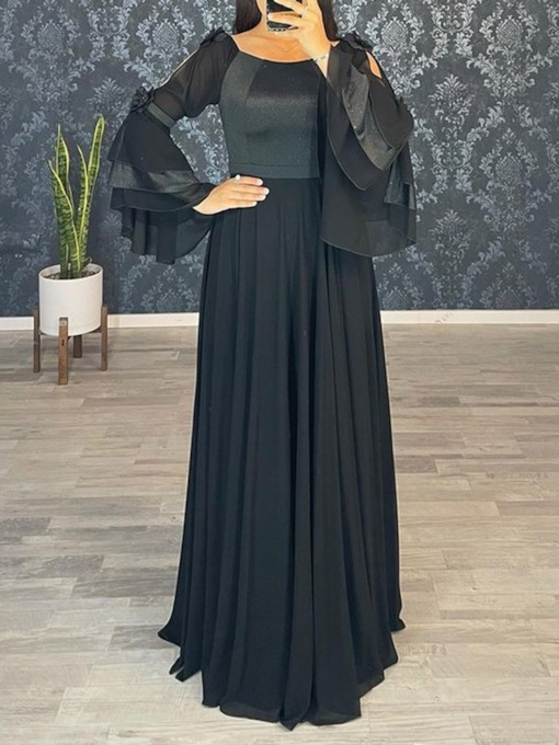 Square Long Sleeves Floor-Length A-Line Evening Dress 2021