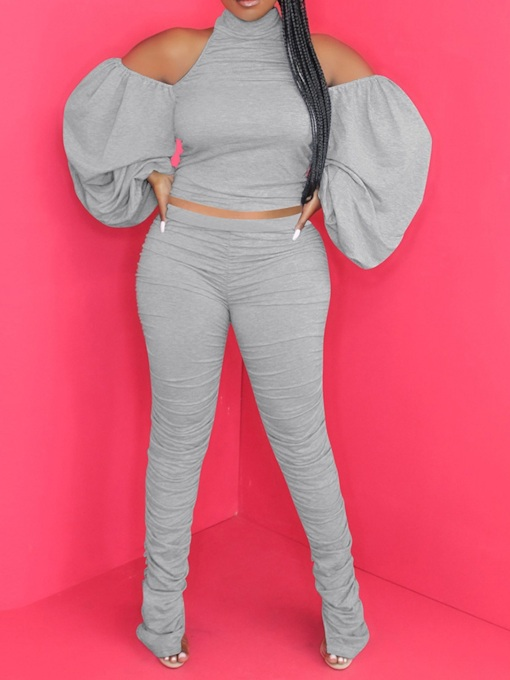 Pants Plain Fashion Pleated Pullover Women's Two Piece Sets