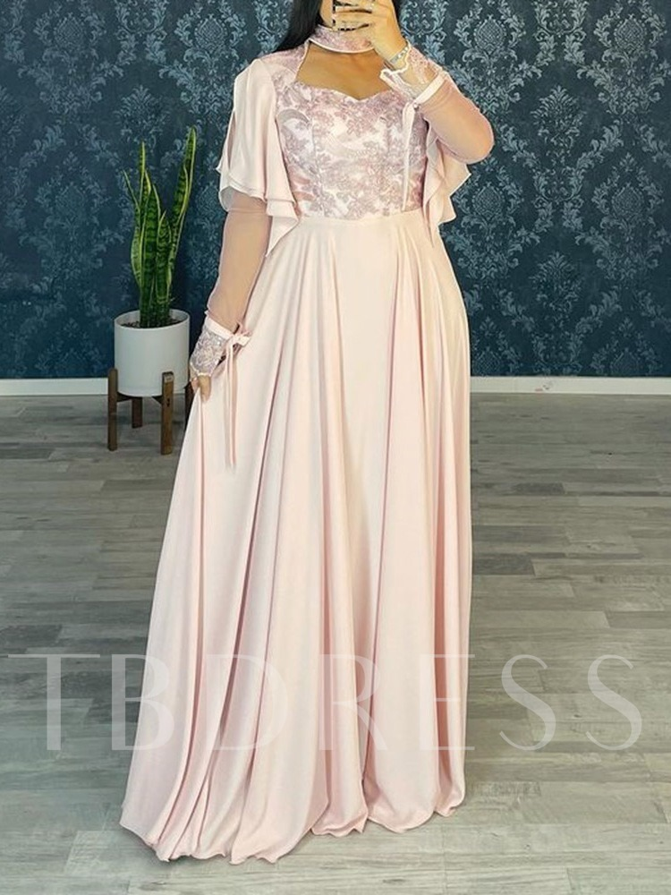 A-Line Long Sleeves Embroidery Floor-Length Evening Mother Dress 2021