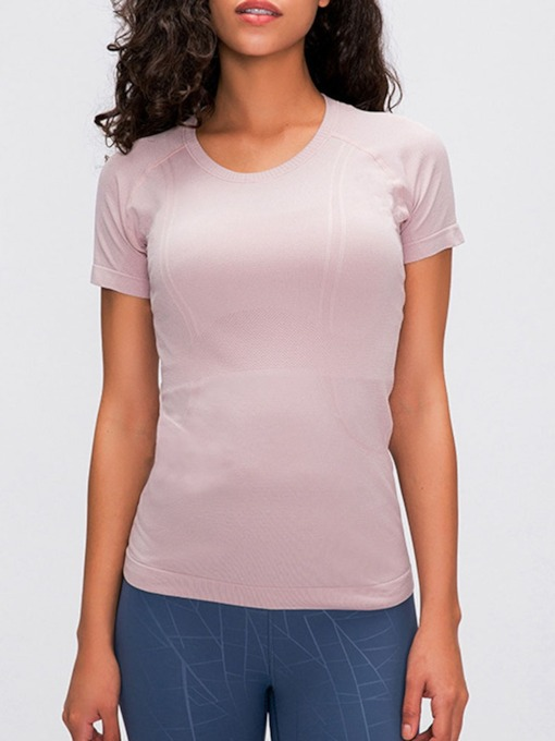 Patchwork Breathable Solid Short Sleeve Yoga Female Tops