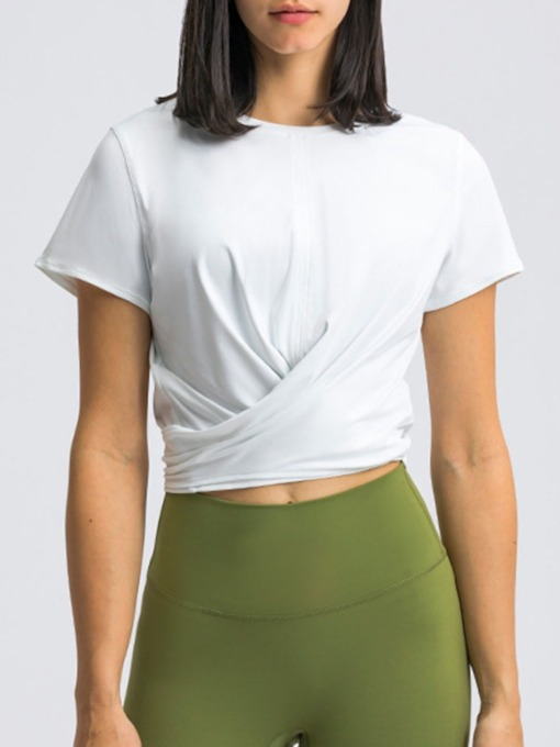 Solid Breathable Pullover Female Yoga Tops