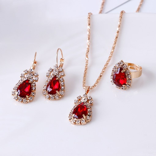 Necklace European Water Drop Prom Jewelry Sets