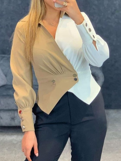 Color Block Button Double-Breasted Long Sleeve Women's Blouse
