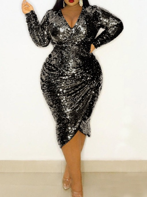 Plus Size Mid-Calf V-Neck Long Sleeve Sequins Pullover Women's Dress