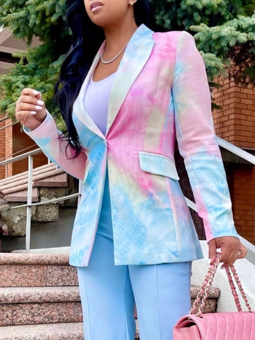 Color Block Long Sleeve Notched Lapel One Button Fall Women's Casual Blazer