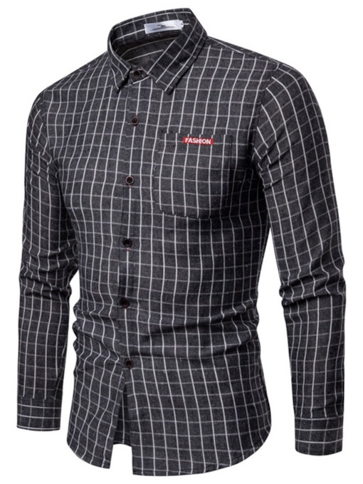 Casual Button Lapel Plaid Single-Breasted Men's Shirt