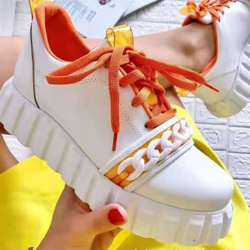 Lace-Up Lace-Up Round Toe PU Sneakers