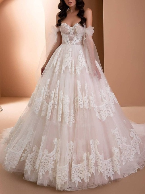 Long Sleeves Lace Off-The-Shoulder Floor-Length Church Wedding Dress 2021