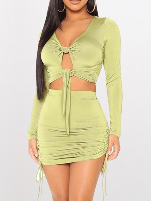 Hollow Plain Skirt Fashion Pullover Women's Two Piece Sets
