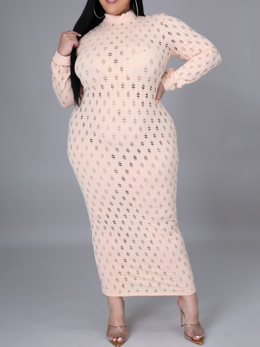 Plus Size Hollow Stand Collar Ankle-Length Long Sleeve Bodycon Women's Dress