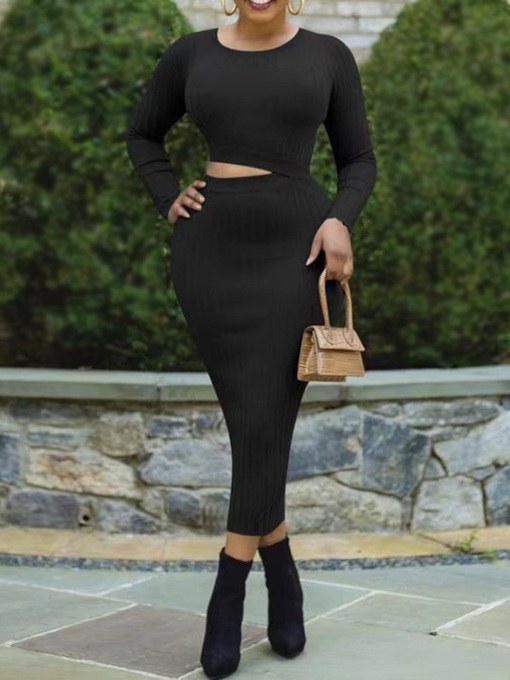 Plus Size Hollow Long Sleeve Round Neck Mid-Calf Sexy Women's Dress