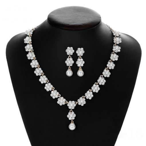Floral Pearl Inlaid European Prom Jewelry Sets