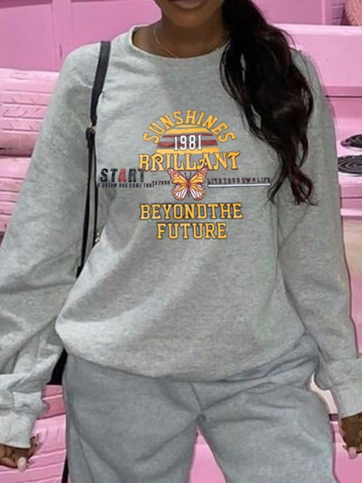 Loose Letter Round Neck Women's Hoodie