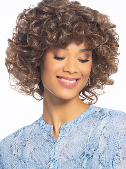 Medium Hairstyles Women's Gorgeous Voluptuous Curly Human Hair Lace Front 16 Inches Wigs