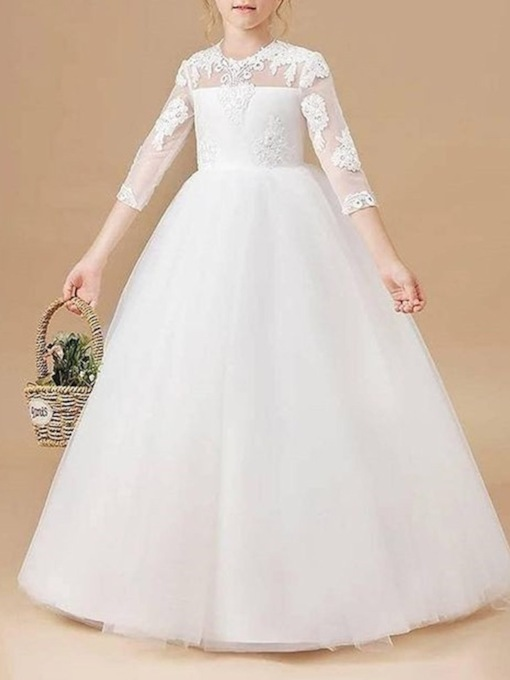 Ball Gown Lace Sleeves Scoop Flower Girl Dress 2021