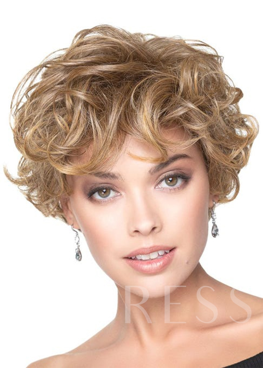 Fabulous Women's Short Wig With Romantic Full Body Curls Human Hair Capless 10 Inches Wigs
