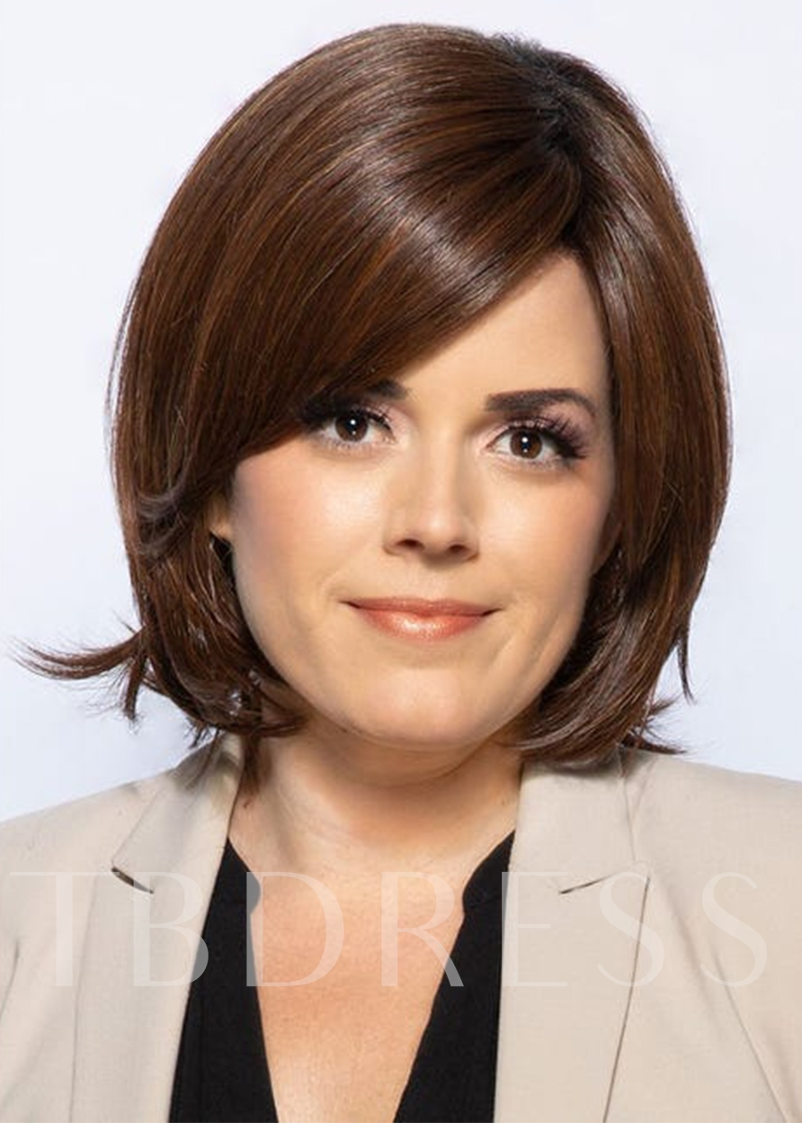 Sexy Women's Short Shaggy Layered Hairstyles Straight Human Hair Capless 10 Inches 130% Wigs