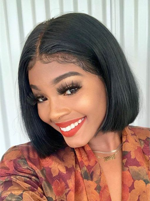 Bob Hairstyle Middle Part Natraul Straight Synthetic Hair Capless 10 Inches Wigs
