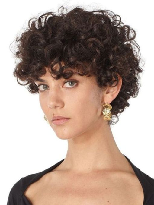 Women's Short Curly Wig Kinky Curly Human Hair Capless 10 Inches Wigs