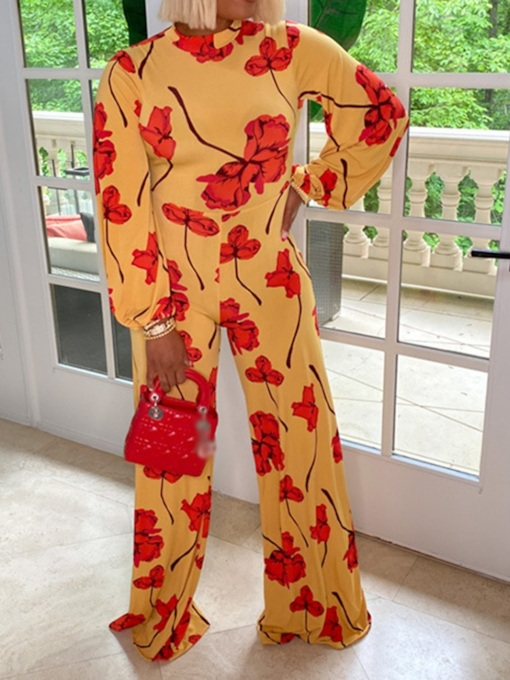 Full Length Print Fashion Floral Straight Women's Jumpsuit