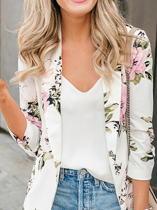 Wrapped Floral Three-Quarter Sleeve Mid-Length Women's Casual Blazer