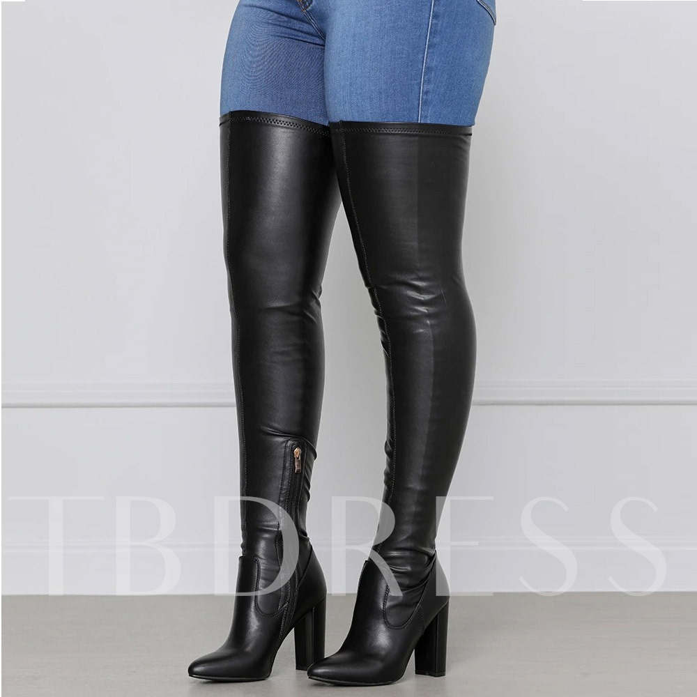 Pointed Toe Plain Side Zipper Chunky Heel Banquet Boots
