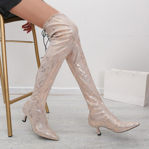Pointed Toe Stiletto Heel Color Block Slip-On Banquet Boots