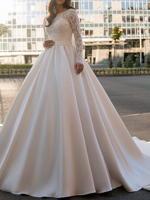 Lace Long Sleeves Ball Gown Floor-Length Outdoor Hall Wedding Dress 2021