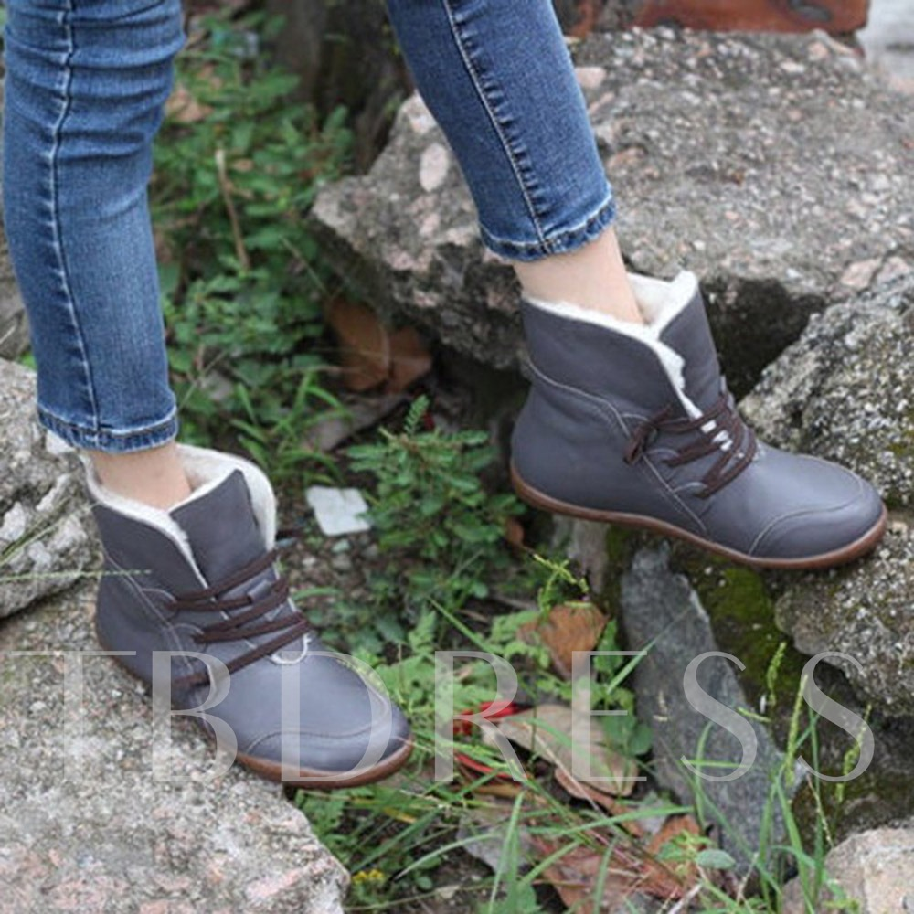 Flat With Plain Lace-Up Front Round Toe Short Floss Boots