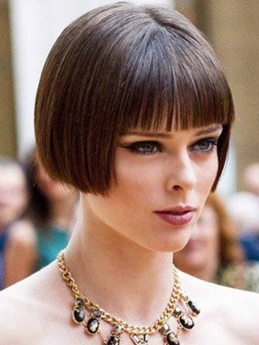 Cute Women's Short Bob Hairstyles Natural Straight Synthetic Hair Capless 8 Inches Wigs