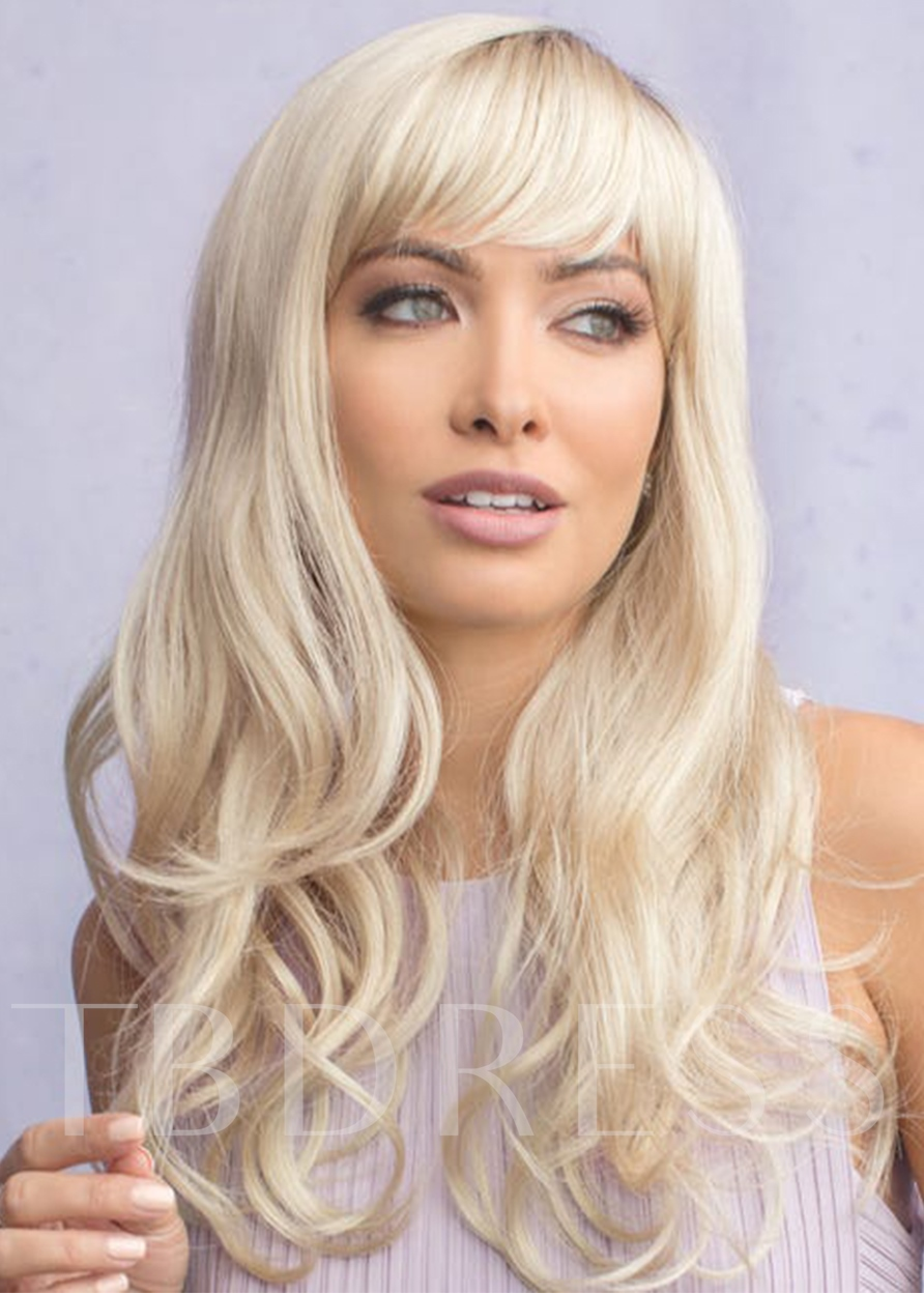 Stunning Style Women's Beautiful Long Length Full Fringe Natural Waves Synthetic Hair Capless 24 Inches Wigs