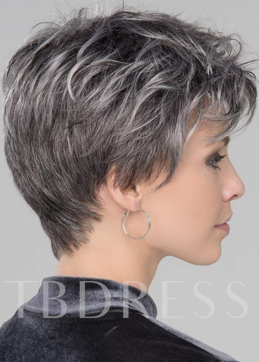 Women's Short Pixie Boy Cut Salt And Pepper Straight Synthetic Hair Capless 6Inches Short Wigs